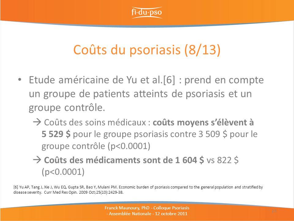 Coûts du psoriasis (8/13) Etude américaine de Yu et al.[6] : prend en compte un groupe de patients atteints de psoriasis et un groupe contrôle.